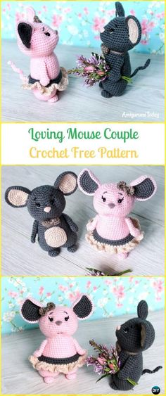 Crochet Loving Mouse Couple Amigurumi Free Pattern - Amigurumi Crochet Mouse Toy Softies Free Patterns