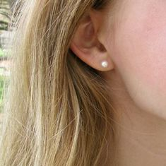 Buy Now 5.5mm Gold Real Pearl Stud Earrings on Gold-Filled Posts...