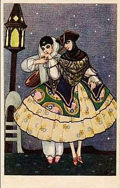 Attributed to Sofia Chiostri - Vintage Harlequin, Pierrot & Columbine c1920