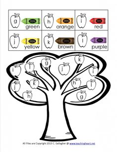 """Apple Tree, """"Color a Sound"""" Activity (free; from Teaching Heart Blog)"""