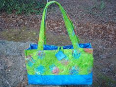 Lime green and Blue Sea Turtle Quilted Bag by Jackiesewingstudio