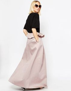 ASOS WHITE Textured Bonded Satin Skirt