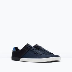 Discover the new ZARA collection online. The latest trends for Woman, Man, Kids and next season's ad campaigns. Baskets Bleu Marine, Navy Blue Sneakers, Fashion Shoes, Mens Fashion, Men's Shoes, Shoes Style, Men's Style, Zara Man, Adidas Men