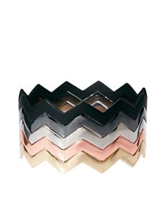 Chevron Bangles in Black, Silver, Pewter, Gold and Rose Gold Tones | $ 13.19