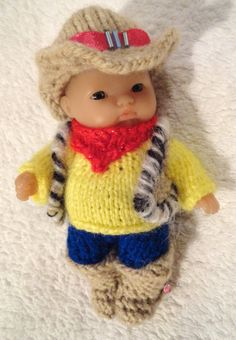 Hand Knitted Clothes cowboy outfit for 5  Berenguer Doll (#79)