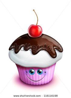 stock photo : Whimsical Kawaii Cute Cartoon Cupcake with Cherry