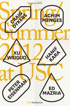 2x4's cohesive identity system uses a series of iconic shapes to frame and thematize the constant output of the school, from events, publications, to degree programs, as seen through a redesigned website and program guide. This new identity allowed the School of Architecture to have a distinct yet still connected voice to the university's overall institutional branding.