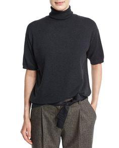 B3BZJ Brunello Cucinelli Short-Sleeve Turtleneck Cashmere Sweater, Onyx