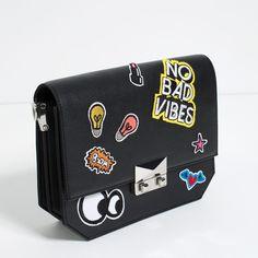 Zara Patch Cross-Body Bag ($40) ❤ liked on Polyvore featuring bags, handbags, shoulder bags, zara purse, crossbody purse, zara crossbody, cross body and zara handbags