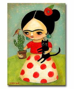 ORIGINAL Frida Kahlo with Black Cat and Cactus acrylic by tascha