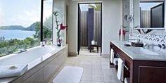 #AroundTheWorldIn80Baths - gorgeous bathroom at the Raffles, on Praslin Island, Seychelles - http://www.raffles.com/praslin/exclusive-offers/room-offers/room-offers/?gclid=CJTzuZfnt7ACFcYBRQodMCMm5Q