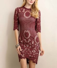 Love this Maroon Lace Cutout Hi-Low Dress on #zulily! #zulilyfinds