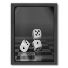 "East Urban Home 'Cube Dice Hobby Game' Framed Photographic Print Size: 25"" H x 19"" W x 1.5"" D"