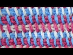 Crochet - Tunisian crochet - Tri-color pattern from simple Tunisian bars - Pattern 3. Discussion on LiveInternet - Russian Service Online Diaries