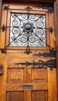 I love the metal work also the quarter-sawn oak? Philadelphia, Pennsylvania, USA- Fairmount section of Philly. Photo by Kerrins Giraffe Cool Doors, Unique Doors, La Forge, Knobs And Knockers, Door Gate, Dutch Door, Iron Work, Architectural Elements, Doorway