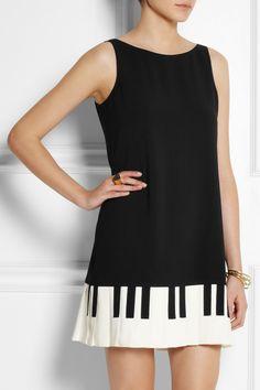 Moschino Cheap and Chic Piano key-print stretch-crepe mini dress NET-A-PORTER.COM