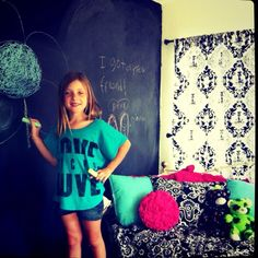 Mia's chalkboard walls in her new more mature like an 8 year old room ;)
