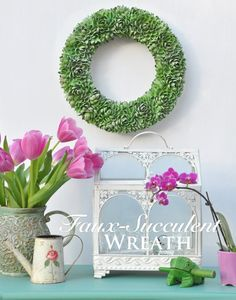 Faux-succulent wreath made from pistachio shells