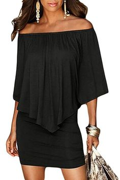 5e22be0122e6 Sidefeel Women Off Shoulder Ruffles Clubwear Mini Dress Small Black Mini  Robes