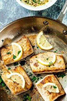 Easy Perfect Mahi Mahi Recipe – Chew Out Loud Lemon Garlic Mahi Mahi. Amazingly tender, flaky, healthy, and soooo delish! Super easy cooking method guarantees perfect fish every time. Salmon Recipes, Seafood Recipes, Dinner Recipes, Cooking Recipes, Healthy Recipes, Healthy Fats, Easy Cooking, Healthy Cooking, Recipes For Mahi Mahi