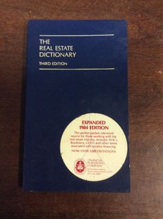The Real Estate Dictionary Third Edition (1984, Paperback)