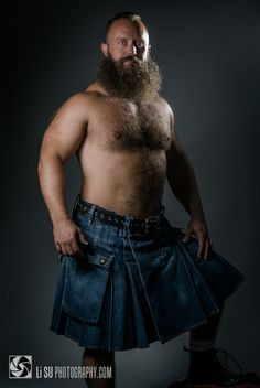 thelastofthewine:  lisuphotography:  Denim kilt http://lisuphotography.com  *** Everything about this pic is awesome .. the bush, the fur, the bod, the eyes, the denim, a kilt … everything IS awesome