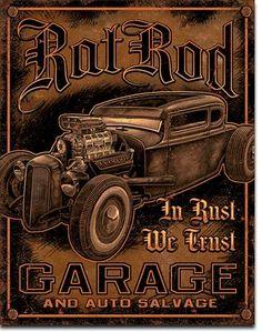 Rat Rod Garage 12 x 16 Nostalgic Metal Sign | Man Cave Kingdom