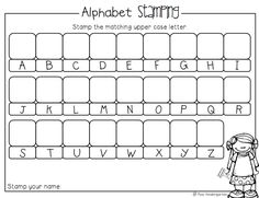 Alphabet Stamping Activity (from Miss Kindergarten) letter preschool stamp Miss Kindergarten, Kindergarten Language Arts, Kindergarten Centers, Preschool Literacy, Kindergarten Writing, Preschool Printables, Teaching Letters, Preschool Letters, Letter Activities