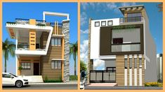 Latest Two Storey House Front Elevation 3 Storey House Design, Duplex House Design, Two Storey House, Small House Design, Building Elevation, House Elevation, Front Elevation, Bungalow, Interior Design Videos