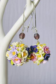 Lilac violet flowers earrings Cute clay earrings Flowers earrings Valentines day gift Boyfriend gift Girlfriend present Best gift for her