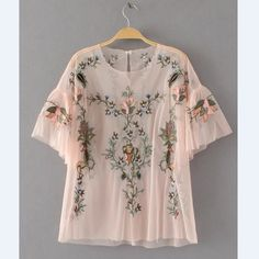 Cheap blusas fashion, Buy Quality mesh blouse directly from China blouse fashion Suppliers: 2017 New Fashion Women Vintage Floral Embroidery Mesh Blouses Shirts lady Butterfly Sleeve Feminine Blusa 2 colors Tops SB1034