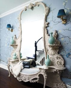 hallway-renovation-ideas-on-budget --- home decor interior design inspiration boho eclectic bohemian chic modern farmhouse rustic vintage glamorous white french shabby chic mirror huge giant large oversized entryway teal pottery blue wallpaper branches Elle Decor, Decoration Shabby, Interior And Exterior, Interior Design, Kitchen Interior, Design Interiors, Bathroom Interior, Beautiful Mirrors, Beautiful Things