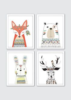 Tribal Nursery Art Prints, Tribal Animals Nursery Prints, Tribal Wall Art, Tribal Nursery Decor, Bear Fox Rabbit Deer, Tribal Room Decor