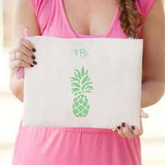 New! Our Preppy Pineapple Monogrammed Canvas Accessories and Cosmetics Pouch is the ideal zip pouch to help organize any accessories and necessities. A great bag for the beach, pool or every day that is the perfect little pouch for everything from makeup to sunglasses and a swimsuit to an iPad! The handy wrist strap makes this a versatile little take-a-long zip pouch.  www.beaujax.com