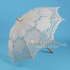 Beige Vintage Battenburg Lace Umbrella Wedding Bridal Photo Props Decor Parasol