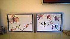 tweeluik koolmeesjes pen en aquarel schilderijen in opdracht