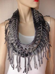 womens or mens shredded tshirt scarf, braided fringed jersey scarf, eternity scarf, infinity scarf.
