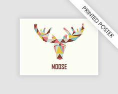 Poster Moose scandinavian design print A4 от CustomTemplateStudio