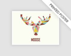 Poster Moose scandinavian design print A4 от CustomTemplateStudio