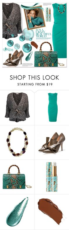 """""""Fabulous"""" by loveroses123 ❤ liked on Polyvore featuring Brunello Cucinelli, Scarlett B, Yves Saint Laurent, Gucci, tarte, Giorgio Armani, cardigan and falloutfit"""
