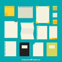 Kinds papers pack Free Vector  http://www.freepik.com/free-vector/kinds-papers-pack_829832.htm#term=post%20it&page=2&position=9