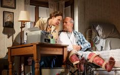 Laurie Metcalf and Bruce Willis in 'Misery.' Photo: Joan Marcus. Review on StageZine @ http://www.stagezine.com/misery-stage-adaptation-misses-the-mark/