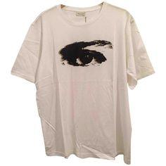 White Cotton T-shirt DRIES VAN NOTEN (3,560 DOP) ❤ liked on Polyvore featuring tops, t-shirts, cotton tees, white t shirt, dries van noten, white tee and dries van noten t shirt