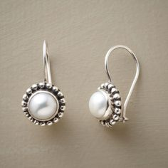 """BEADED PEARL EARRINGS�--�A pair of beaded pearl earrings, with handcrafted rims of sterling silver granulation beads complementing the luster of cultured freshwater pearls. Sterling silver French wires. 7/8""""L."""