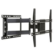 This heavy duty full motion TV mount accommodates up to a 80 inch flat screen TV, and mounts on a wall stud, brick or concrete. The mount has a 5 degree upward tilt, 15 degree downward tilt and 180 degree side-to-side swivel.