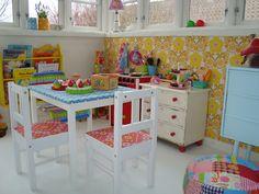 Vintage playroom. Hmm, baby blue dresser beside distressed cream and red... I like?