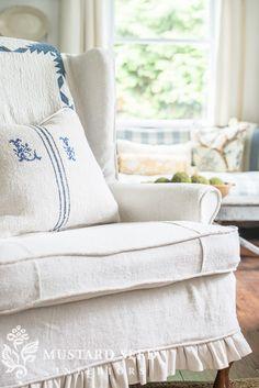 hemp sheet slipcovers - Miss Mustard Seed Custom Slipcovers, Slipcovers For Chairs, Chair Reupholstery, Shabby Chic Sofa, Shabby Chic Decor, Devine Design, Miss Mustard Seeds, Upcycled Furniture, Furniture Ideas