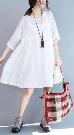 9503ebdd0c5b2 89 Best White linen dresses images in 2019 | Cotton dresses, White ...