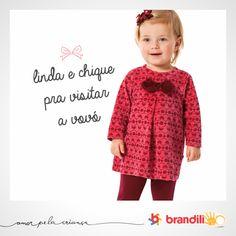 Vestido para menina que adora delicadeza. O laço continua em alta no inverno das meninas. #lookbrandili