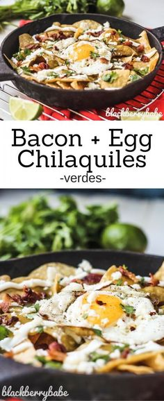 Bacon and Fried Egg Chilaquiles Verdes | Bacon Chilaquiles | Egg Chilaquile | Easy Chilaquiles Recipe | Green Chilaquiles | Chilaquiles Verdes Recipe | Mexican Egg Breakfast Recipe | Mexican Breakfast Recipe | #breakfastpower #ad